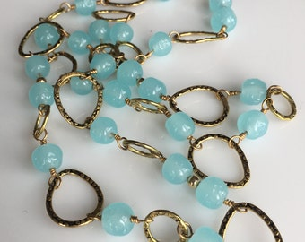 Vintage Miriam Haskell Blue Calcedony Necklace