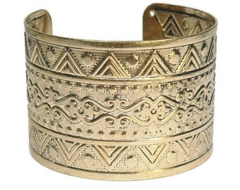 Wide Cuff Bracelet - Stamped Metal Cuff Bracelet - Southwest - Gold Cuff - Cowgirl - Aztec - Thunderbird - Tribal - Boho - Statement - Gypsy