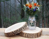 2 Wood WEDDING Centerpieces - Natural Wood Slices - Tree Cake Stands - Perfect for Rustic Weddings
