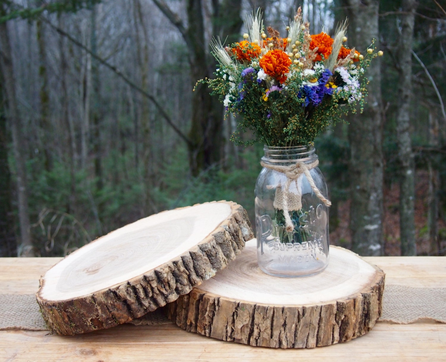 Wood wedding centerpieces natural slices tree cake