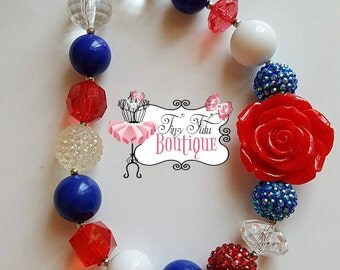 LITTLE SPARKLER FLOWER Chunky Necklace- Chunky bubblegum necklace, Girls chunky necklace, Gumball necklace, Chunky beaded necklace