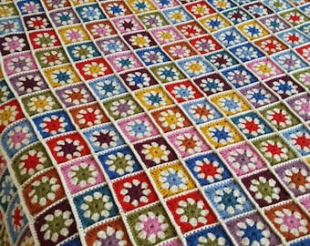 Pure Wool Granny Squares Daisy Blanket Afghan Sofa Throw 60 x 60