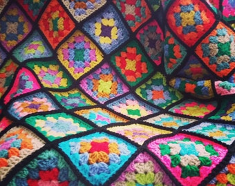 Traditional Crochet Blanket Afghan Stained Glass Granny Squares Sofa Thow