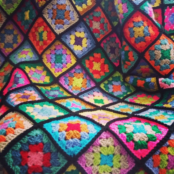 Crochet Blanket Afghan Stained Glass Granny Squares Sublime Striking
