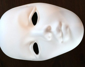 One Plain Face Mask Eyes Cut Out Ready to Paint Ceramics Poured by CrazyOldLadyJC