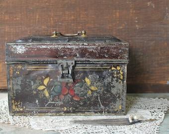 Antique Tin Tole Painted Tea Document Cash Box