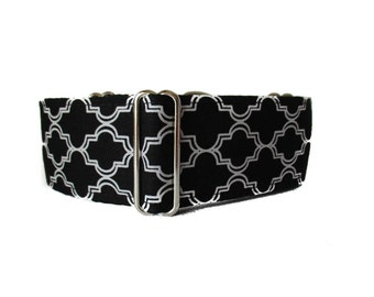 Black Martingale Collar, 2 Inch Martingale Collar, Quatrefoil, Black and White Dog Collar, Greyhound Collar, Nosework, Black Dog Collar