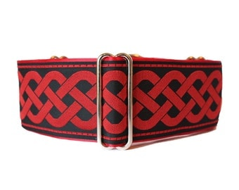 Red Martingale Collar, Celtic Martingale Collar, Jacquard, Celtic, Knot, Greyhound Collar, Dog Collar, Nosework, Greyhound Martingale