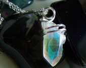 Angel Aura Quartz Crystal Iridescent Pendant