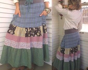 Eco patchwork SKIRT,size S/M,  eco clothing,long skirt, bohemian skirt, festival skirt, hippy skirt, tiered skirt, long plaid skirt, Zasra