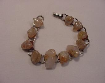 Vintage Polished Stones Bracelet   16 - 8