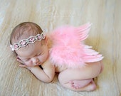 Baby Pink Feather  Wing Set - Newborn Feather Wings - feather Butterfly Wings - Newborn Wing Set Photo , Prop Wings ,Angel wings, Pink wings