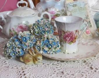 Vintage Millinery Flowers-Forget Me Nots-ATC-Scrapbooking-Embellishment-1 Bunch-Blue-