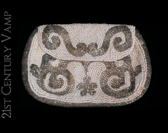 1920s Beaded Art Deco Purse. Made In France. Flapper. Silver. White. Wedding.