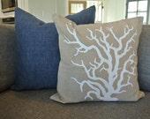 Nautical Pillow Cover / Coral / Linen Fabric/ Zipper/ 16x16