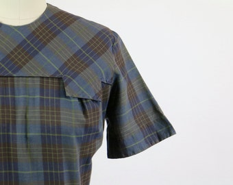 Vintage 1940s Dress / 1950s Dress / Shadow Plaid Dress / 1950s Plaid Dress / Schoolgirl Dress Full Skirt Dress S M