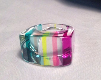 Vintage Lucite Ring/Acrylic Chunky Ring/Size 6/NOS/Retro/Geometric/Mod/Abstract Hippie 1960's 1970's Ring - I Have Other Colors and Sizes