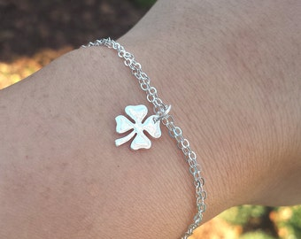 sale,Four leaf clover bracelet,shamrock bracelet,silver or Gold shamrock,Best friend gift,graduation gift