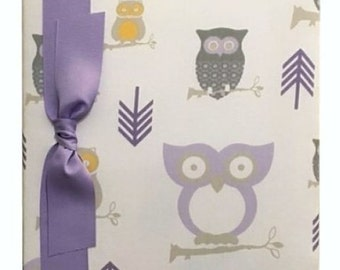 Tight Bound Baby Memory Book - Lavender and Grey Owls