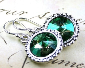 ON SALE Unique Green Swarovski Rivoli Crystal Earrings - Verde Crystal Earrings - Vintage Swarovski Crystal and Sterling Silver Earwires