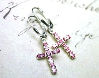 ON SALE Baguette Crystal Cross Earrings in Light Pink- Swarovski Crystal and Sterling Silver - Sterling Silver Leverbacks