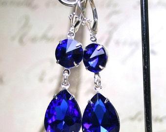 ON SALE Long Vintage Sapphire Blue Earrings - Royal Blue and Silver Earrings - Sterling Silver Leverbacks