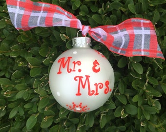 Mr. and Mrs. Ornament, Just Married, Wedding Ornament, Hand Painted, Personalized Christmas Bauble, FREE Personalizing, Christmas Wedding