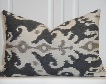 IKAT - Decorative Pillow Cover - 12 x 18 - Oatmeal - Brown - Graphite - Chair Pillow - Lumbar Cover