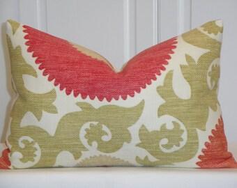 SET OF TWO - 12 x 18 Decorative Pillow Cover - Suzani - Fahri Hibiscus - Coral - Fuschia - Soft Green