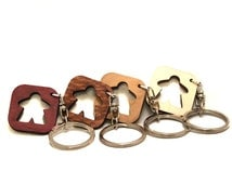 One Meeple Keychain Wood Lacewood Purpleheart Cherry boardgame - you pick one!