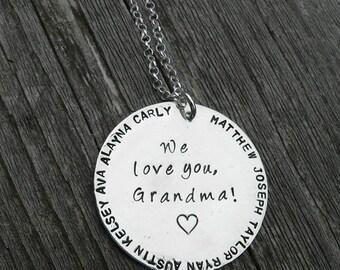 15% off - We Love You Grandma...Custom Sterling Necklace