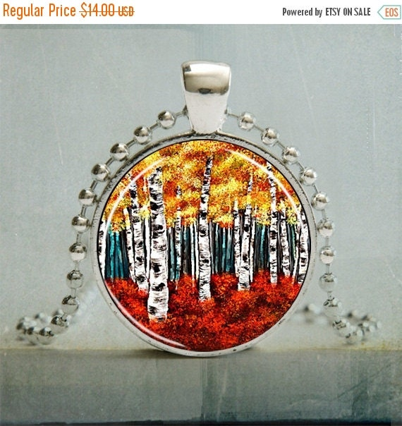 15% OFF SALE Art Pendant | White Aspen Trees Art Pendant |Tree Illustration Pendant | Tree Jewelry | No. 1039