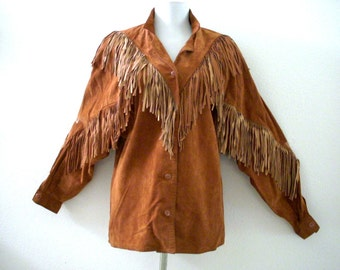 Vintage 70s 80s Brown Suede Fringed Shirt by Pia Rucci - Tan Suede Shirt Long Fringe - Boho Chic Suede Shirt Jacket - Size Medium to Large