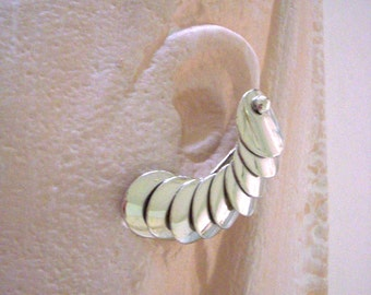 Vintage Silver Tone Minimalist Earrings - Sculptural Modernist Earrings - Large Climber Earrings - Vintage Clip Earrings