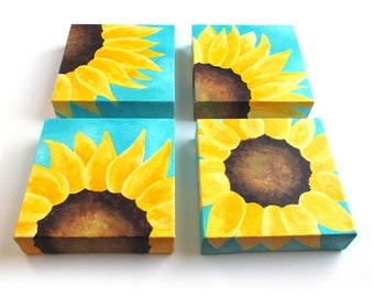 Custom SUNFLOWER Painting, Set of 4 6x6 acrylic canvases, Home or Office Wall Art, personalized