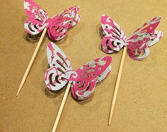 12 Hot Pink Butterfly Cupcake Toppers
