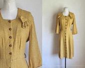 vintage 1930s wool dress - DIJON mustard day dress / M