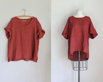 vintage 1990s flax linen top - CAYENNE PEPPER orange slouchy shirt / L-XXL