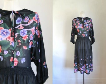 vintage 1970s floral dress - MORNING GLORY black floral sheer dress / M-L