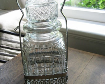 Antique Pickle Jar in Silver Stand