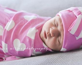 Newborn Gift Set, Sweet Heart Swaddle blanket and newborn beanie