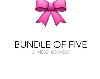 "3"" Messy Bow Clips, set of 5 - Grab Bag - Suprise bundle, ready to ship"