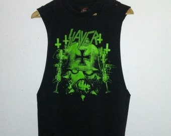 Slayer T Shirt / Muscle Tee / Long Armholes / Band Tee / Graphic / Distressed / Music Festival / Heavy Metal / Thrash / Rocker Chick