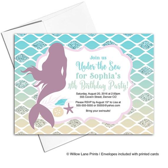 Mermaid birthday invitation for girl under the sea birthday party il570xn filmwisefo