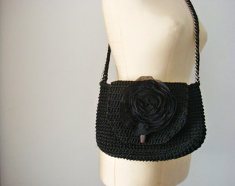 Black Crossbody Bag with Chiffon Flower, Crochet Purse, Black Clutch