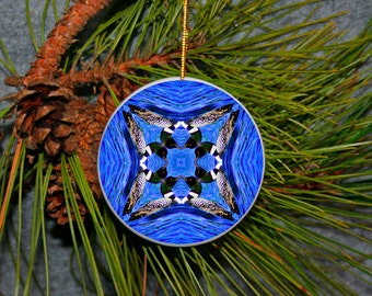Ornament Christmas Ceramic Loon Duck Mandala All Occasion Sacred Geometry Kaleidoscope Boho Chic New Age Unique Mod Serene Serenade