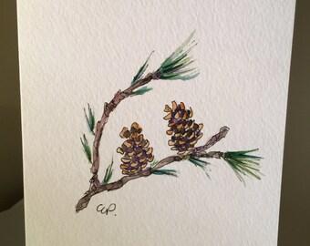 Pine Cones Watercolor Card