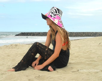 70s Sun Hat in Pink Animal Print Large Brim Sun Hat Funky Hippie Vintage  by Freckles California