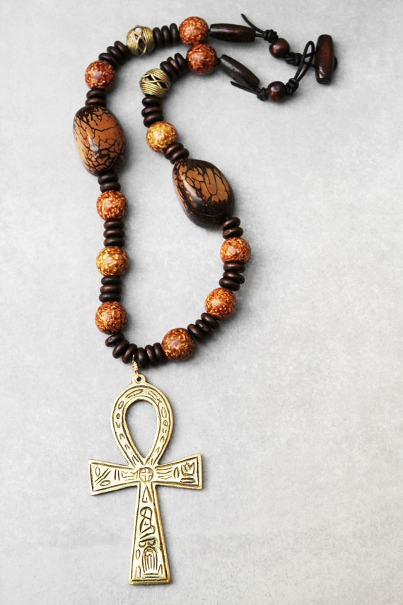 mens necklace mens jewelry mens ankh necklace ankh pendant