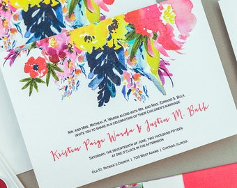 Colorful Modern Floral Wedding Invitations,Bold Fall Floral Wedding Invite,Modern Floral Wedding Invitations,Autumn Floral Wedding Invites